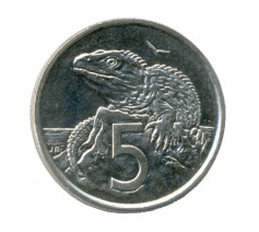 The tuatara on the New Zealand 5 cent coin from 1967 to 2006. Credit: The Conversation