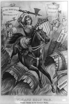 Women's Holy War: this political cartoon from 1874 features temperance campaigners (alcohol prohibition advocates) as virtuous, armoured warriors. Currier & Ives/US Library of Congress/Wikimedia Commons