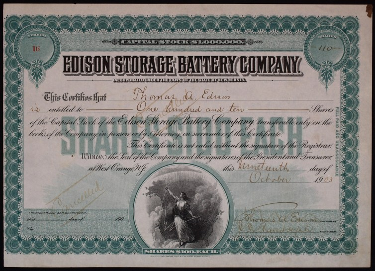 A share of the Edison Storage Battery Company, issued 19 Oct. 1903. Wikimedia/Sammlung eines Mitglieds des Ersten Deutschen Historic-Actien-Clubs e.V