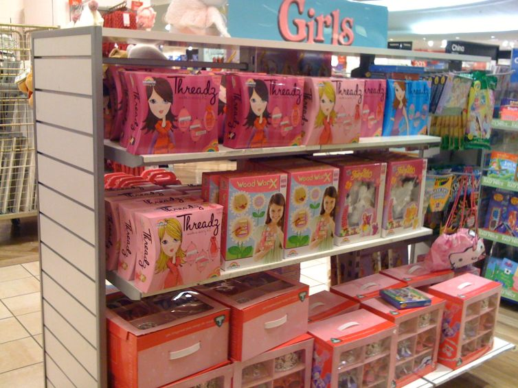 Girls toys. You can tell because they're pink. Credit: Flickr/janetmck