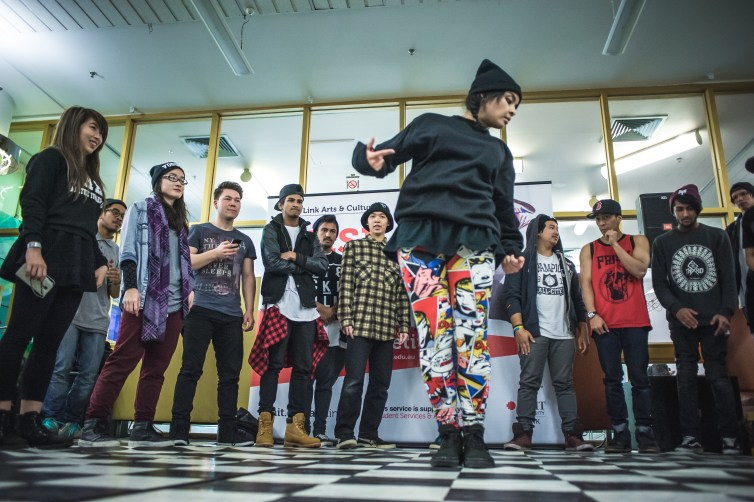 Participants in the RMIT Link Bust A Groove Dance Competition. Credit: Michelle Grace Hunder