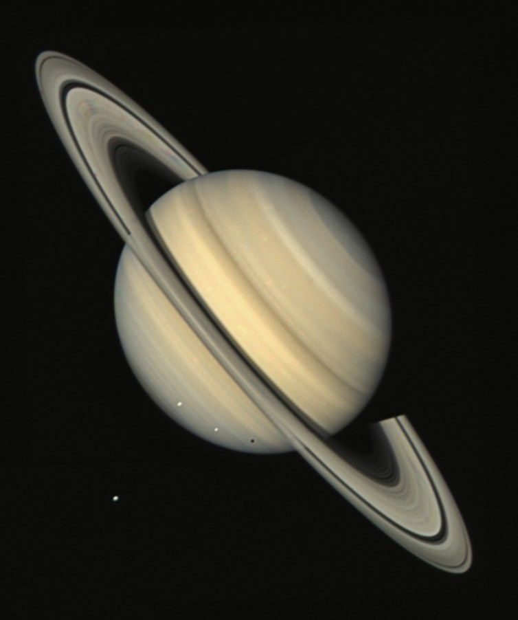 Both Voyagers passed by the ringed planet Saturn.