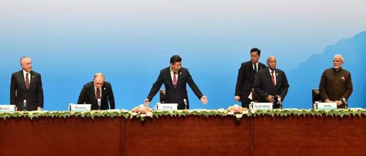 Brazilian President Temer, Russian President Putin, Chinese President Xi Jinping, South Africas President Zuma and Indian Prime Minister Modi. Credit: Reuters/Kenzaburo Fukuhara