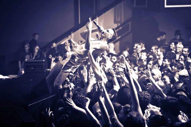 Ninja (of Die Antwoord )crowd surfing