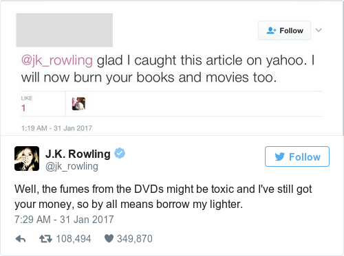 Image result for jk rowling savage tweets