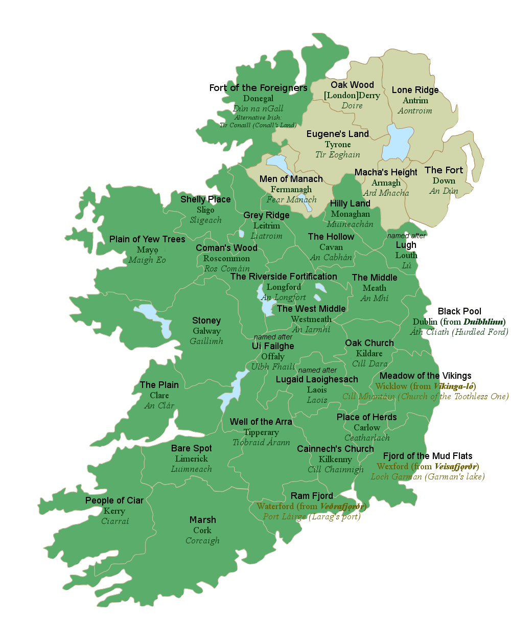 All 32 counties of Ireland with their literal English translations For a full size image  click here