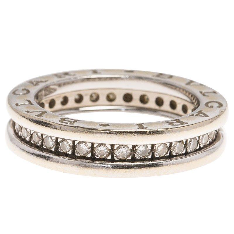 Bvlgari Bzero1 1 Band Diamond White Gold Band Ring Size 48