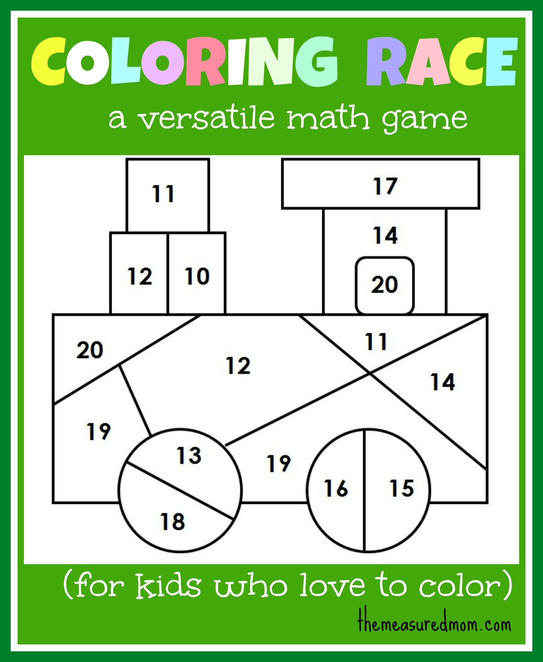 Math Game For Kids Coloring Race Combines Math And