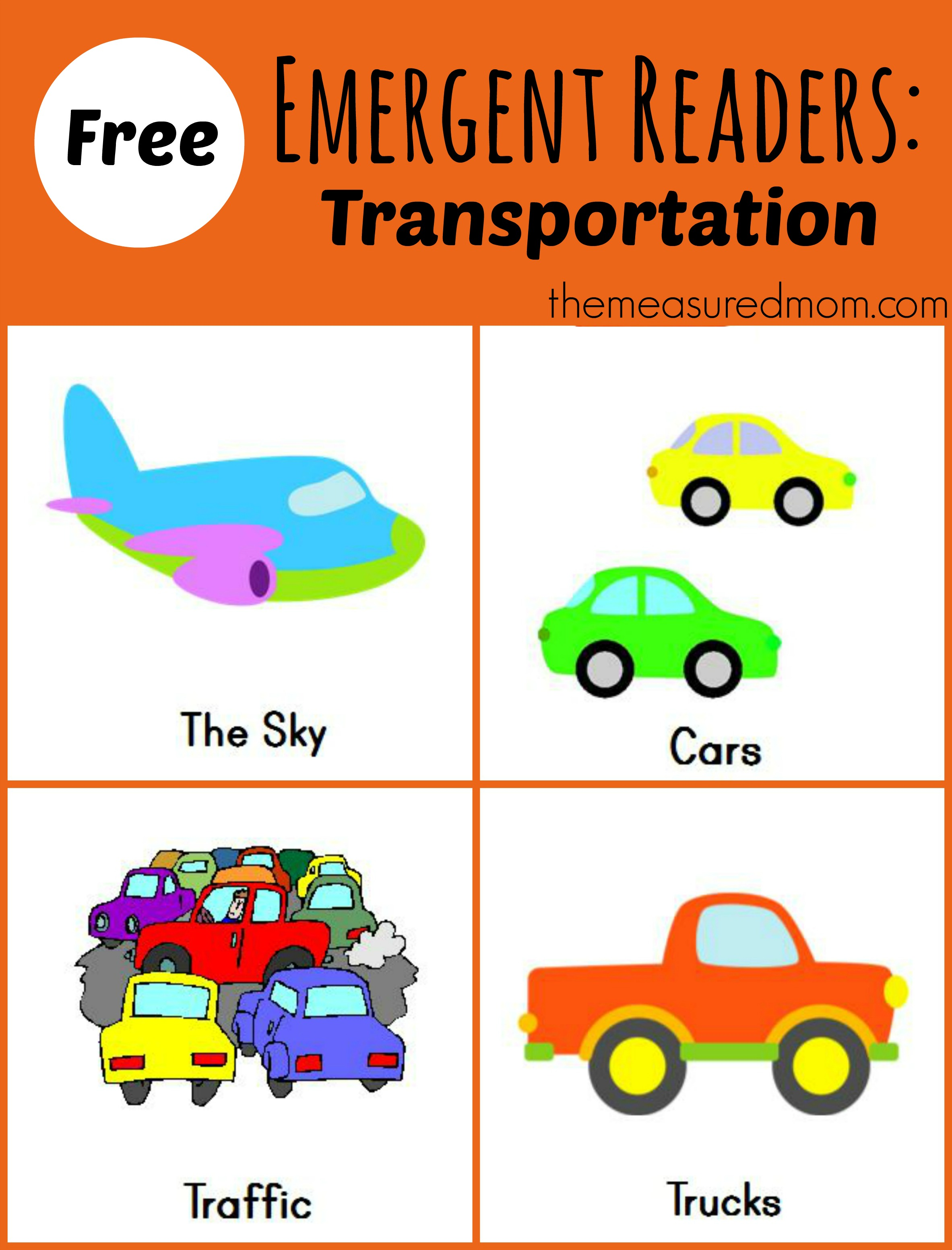 Free Printable Emergent Readers Transportation Sight
