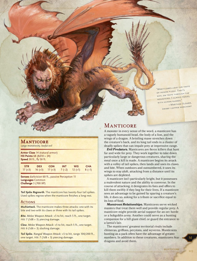 d&d monster manual 5e manticore