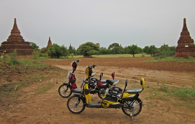E-bikes are the best way to explore the temples of Bagan.