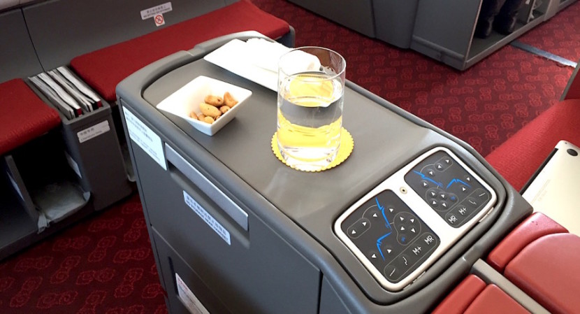 The pre-departure snack and a shot of the seat controls.