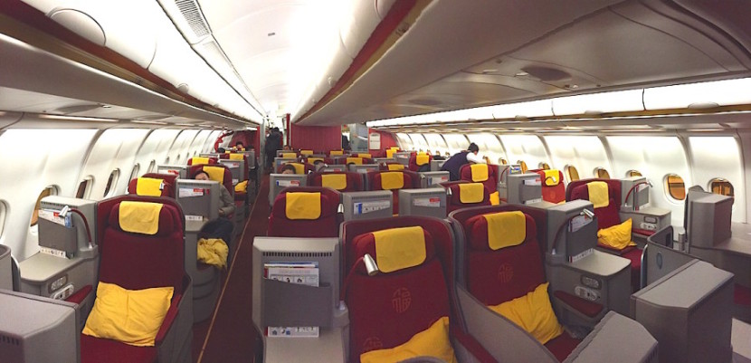 A shot of the business-class cabin.