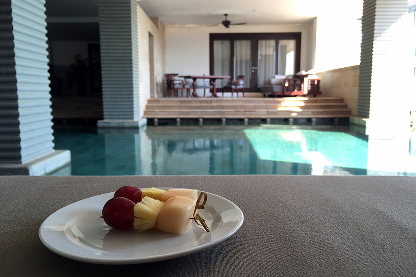 The staff brought us fresh fruit whenever we stopped by the upstairs pool.