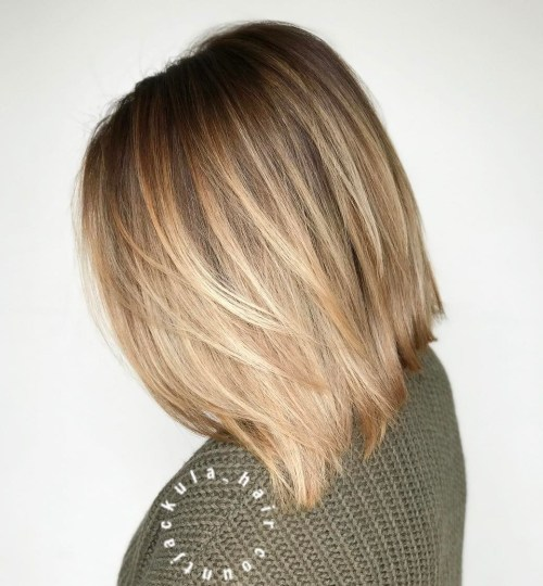 Straight Bob With Blonde Balayage Ombre