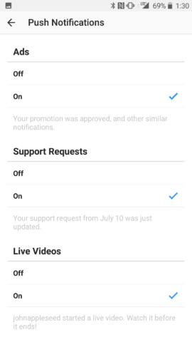 Instagram Live Video Notifications