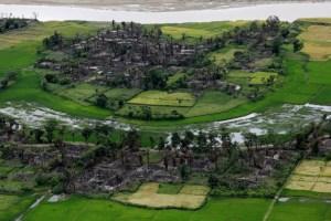 Aerial view of a burned Rohingya village near Maungdaw, north of Rakhine State, Myanmar, September 27, 2017. Credit: Reuters/Soe Zeya Tun/File Photo