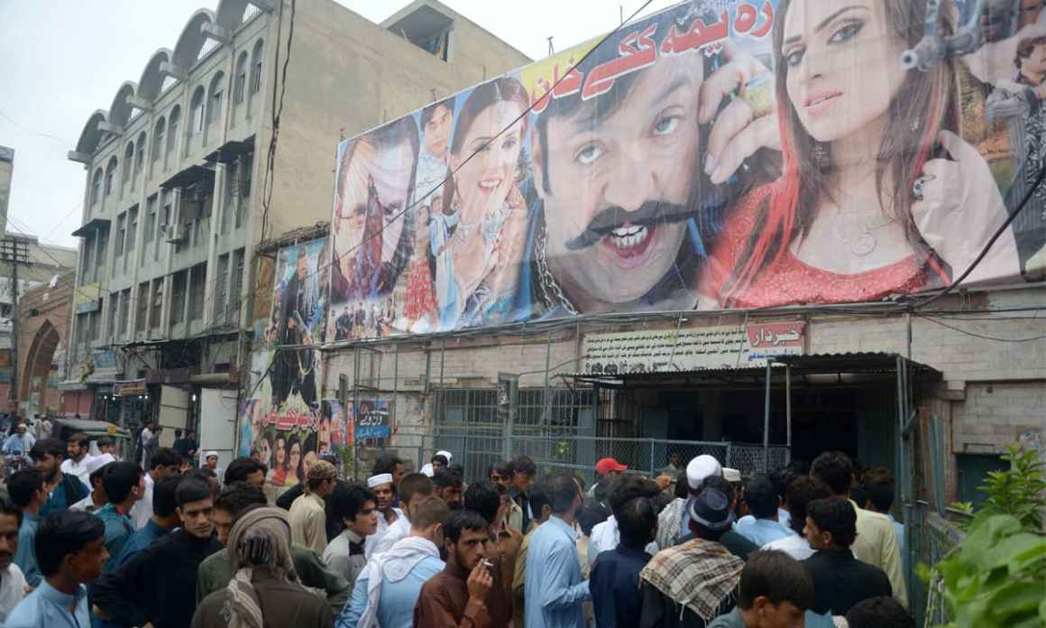 Moviegoers gather outside Picture House Cinema in Peshawar. Credit: Shahbaz butt/ White Star
