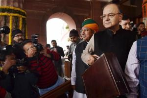 Finance minister Arun Jaitley on budget day on 2017. Credit: PTI