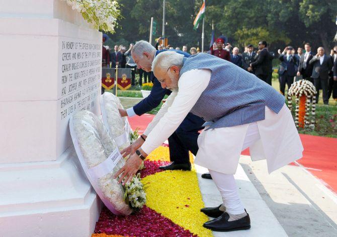 Prime Minister Narendra Modi and his Israeli counterpart Benjamin Netanyahu paying homage at the newly renamed Teen Murti Haifa Chowk in New Delhi on Sunday. Credit: PTI