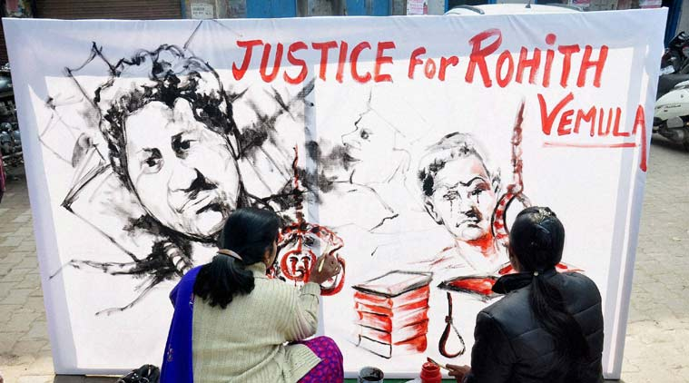 Artists pay tribute to Rohith Vemula. Credit: PTI