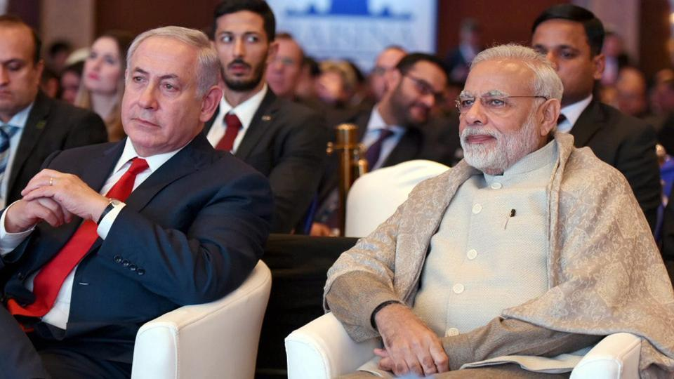 Prime Minister Narendra Modi with his Israeli counterpart Benjamin Netanyahu at the Raisina Dialogue in New Delhi. Credit: PTI