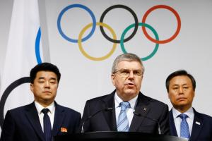 International Olympic Committee (IOC) President Thomas Bach speaks to the press after a meeting with the National Olympic Committee (NOC) of the Republic of Korea (ROK), the NOC of the Democratic People's Republic of Korea (DPRK), and a delegation from the PyeongChang 2018 Organising Committee (POCOG) at the IOC headquarters in Lausanne, Switzerland, January 20, 2018. Credit: Reuters/Pierre Albouy