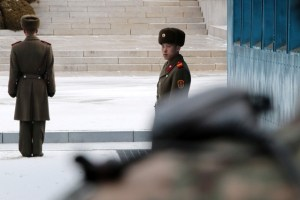 North Korean soldiers stand guard during a high-level talks at the truce village of Panmunjom in the demilitarised zone separating the two Koreas, South Korea, January 9, 2018. Credit: Reuters/Korea Pool