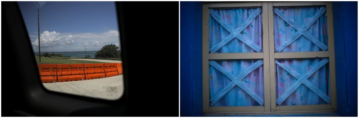 A combination picture shows a fence at the US Naval Base in Guantanamo Bay, Cuba, June 2, 2017 (L) and a window of a house in the city of Guantanamo, Cuba, December 7, 2017. Credit: Reuters/Carlos Barria