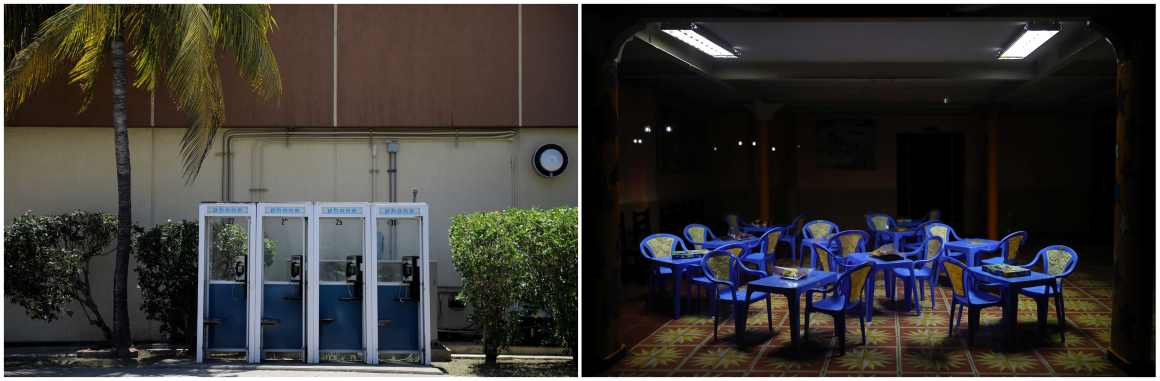 A combination picture shows public telephones outside a shopping mall at the US Naval Base in Guantanamo Bay, Cuba, June 2, 2017 (L) and empty tables and chairs inside a children's play area in the city of Guantanamo, Cuba, December 7, 2017. Credit: Reuters/Carlos Barria