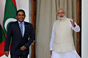 Prime Minister with President of Maldives, Abdulla Yameen Abdul Gayoom, in New Delhi. Credit: Ministry of External Affairs.