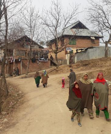 The entrance to Ganawpora village, with the houses of the Lone family and slain militant Firdous Ahmad in the background. Credit: Mudasir Ahmad