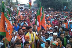 A BJP rally in Tripura. Credit: Twitter/@BJP4Tripura