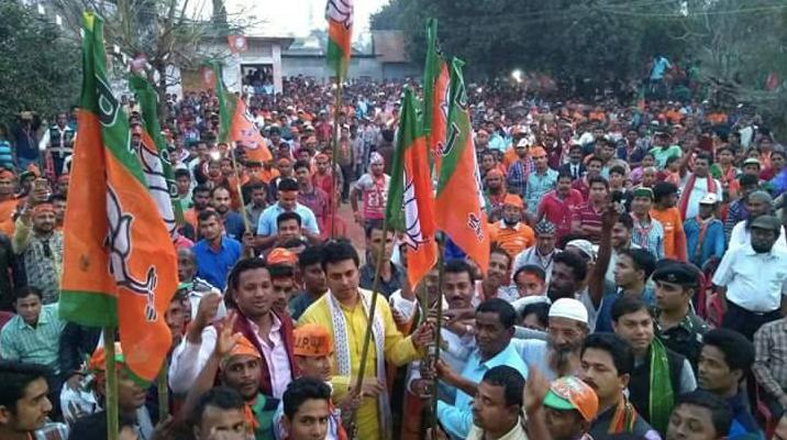 A BJP rally in Tripura. Credit: Twitter/@BJP4Tripura