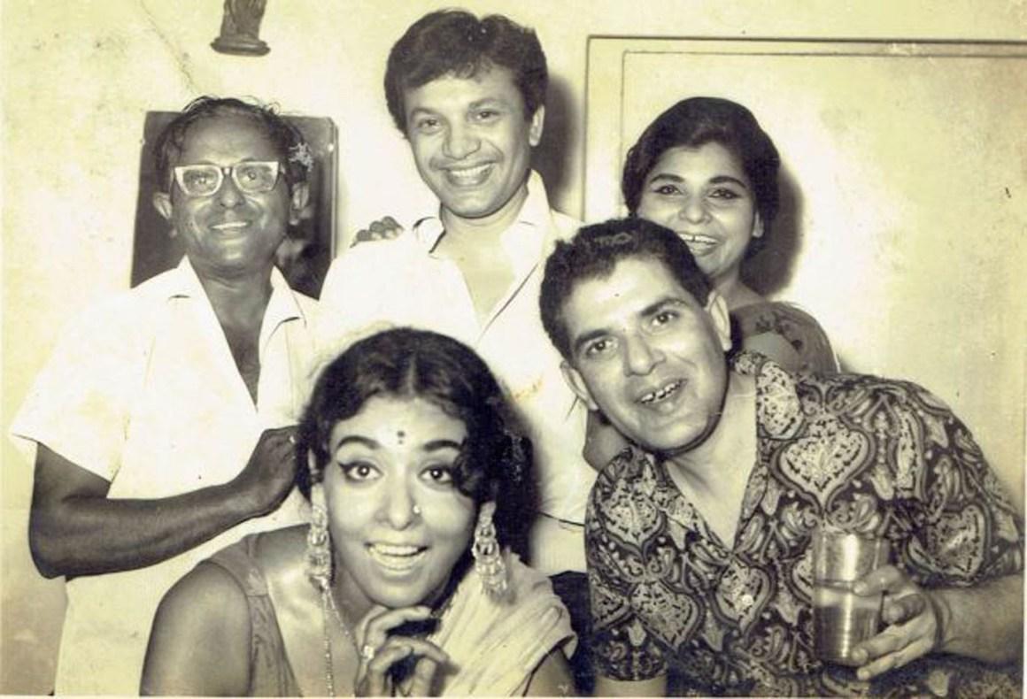Supriya Devi and Uttam Kumar with the author's father Ashutosh Sengupta (top left), then a young technician in Tollygunj. Courtesy: Debjani Sengupta