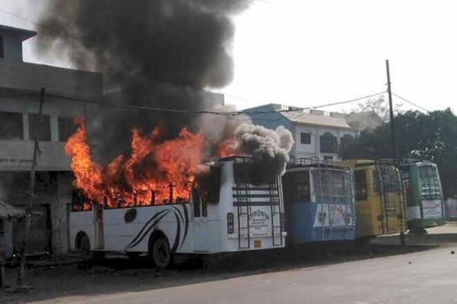Buses set on fire in Uttar Pradesh's Kasganj. Credit: PTI