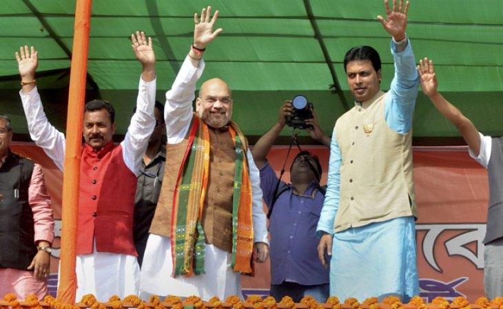 BJP president Amit Shah (centre) in Tripura. Credit: PTI