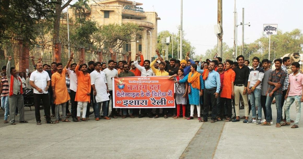Bajrang Dal activists take out a protest rally against Valentine's Day celebration. Credit: IANS