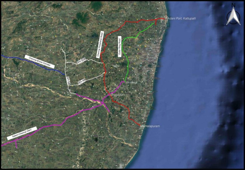 A visualisation of the road network adjacent to the MIDPL. Credit: Google Earth and Coastal Resource Centre, 2018