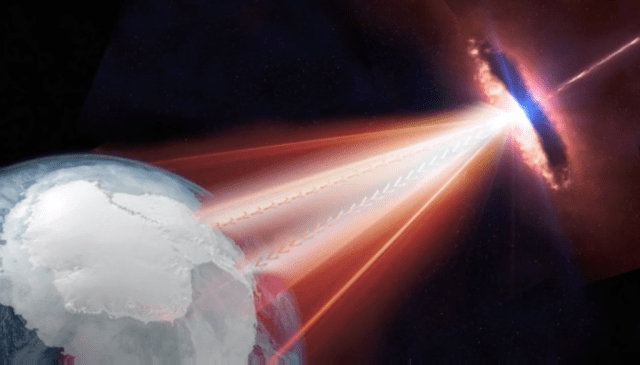 An artist's rendering of a distant blazar emitting a relativistic jet in the direction of Earth. Credit: IceCube/NSF