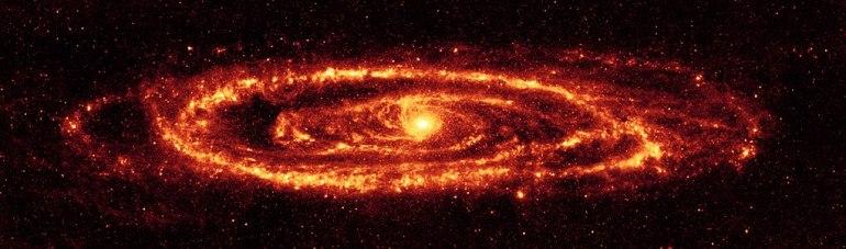 Staub in der Andromeda-Galaxie, gesehen vom Spitzer-Weltraumteleskop. Bildnachweis: NASA / JPL-Caltech / K. Gordon (Universität von Arizona)