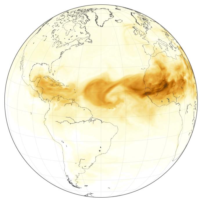 Die Sahara-Staubwolke im Juni 2018. Bildnachweis: NASA / Earth Observatory