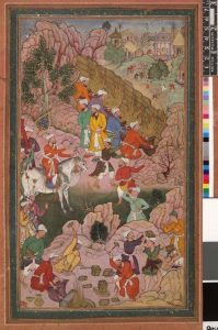 A manuscript, thought to belong to Nizami, shows Alexander building a wall against the people of Gog and Magog. Photo: Wikimedia Commons