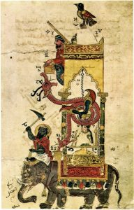 An elephant clock painted on Ismail al-Jazari's manuscript on engineering marvels. Photo: Wikimedia Commons