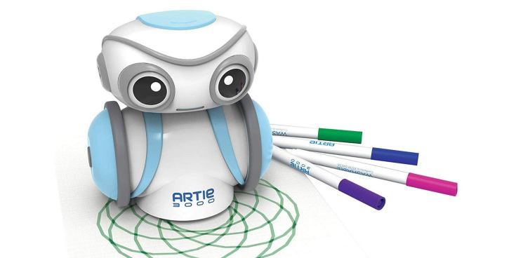 Educational Insights Artie 3000 The Coding Robot, shown on top of a piece of paper, where the robot has drawn spirals.