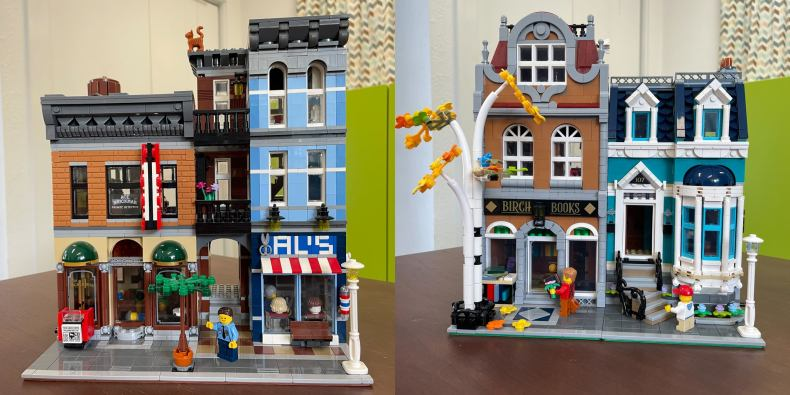 Two lego sets side-by-side. On the left, the lego detective's office and on the right, the lego bookshop.