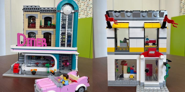 Two lego sets side by side. An old-timey diner next to a pink convertible and a lego version of the lego store.
