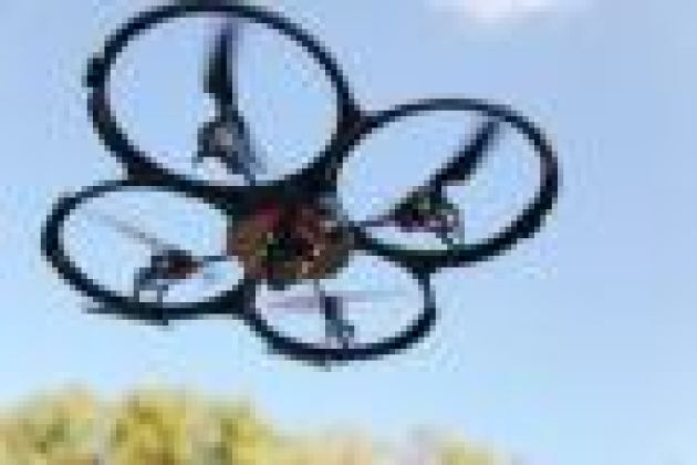 The UDI, a quadcopter with four conjoined rings encircling its blades that form its outer silhouette.