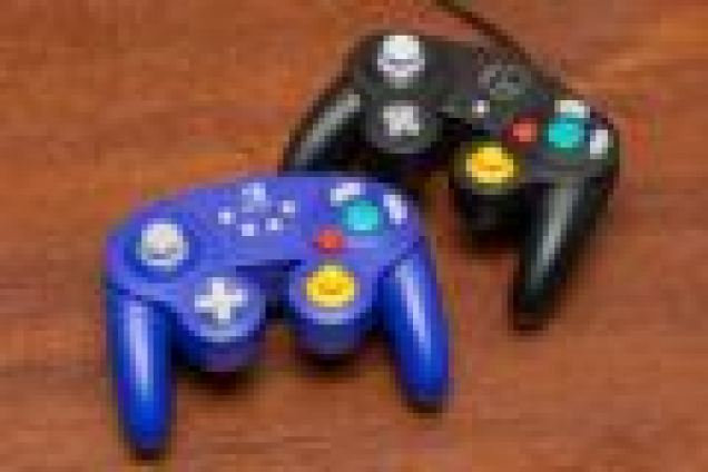The PowerA and Super Smash Bros.-branded GameCube style controllers.