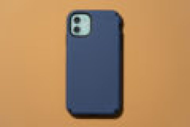 The Speck Presidio Pro for iPhone 11 shown in blue.